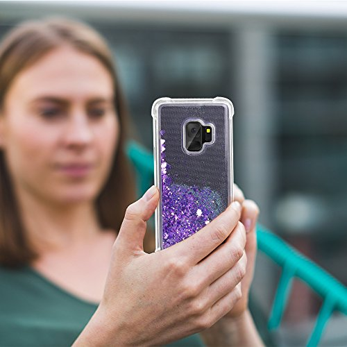 Galaxy S9 Case, SUPVIN Liquid Glitter Cover for Girls Clear Fashion Rhinestone Flowing Sparkle Glitter Floating [TPU+PC] 4 Corners Bumper Protective Phone Cover for Samsung Galaxy S9 (Heart-Purple) by SUPVIN (Image #4)