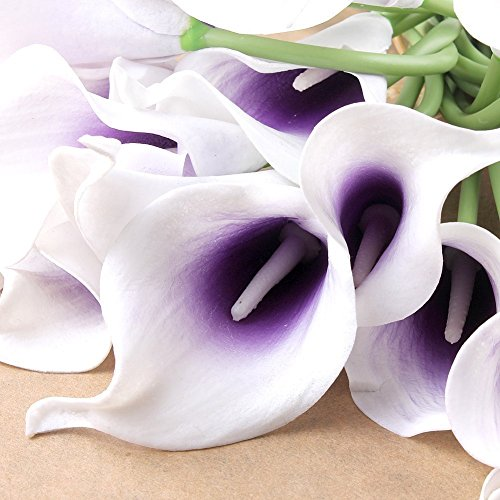 Wuudi 20pcs Calla Lily Bridal Wedding Bouquet head Latex Real Touch Flower (Purple Wedding Bouquet)