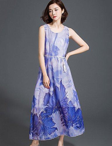 PU&PU Robe Aux femmes Mousseline de Soie / Swing Bohème,Fleur Col Arrondi Maxi Polyester , blue-xl , blue-xl