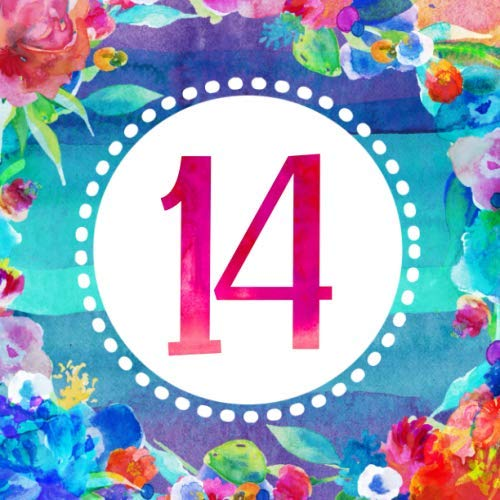 14: Girls 14th Birthday Guest Book - Floral Bohemian Guestbook Blank Unlined Pages To Write, Sign In - Bright Colorful Boho Anniversary Party Memory Celebration Keepsake Journal Blue Pink]()
