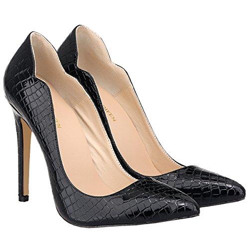 Musta Kengät Naisten Pumput Työtä Korkokengät Stiletto Luistaa Viljan Loslandifen Krokotiili Tyylikäs x76nTwqTAa