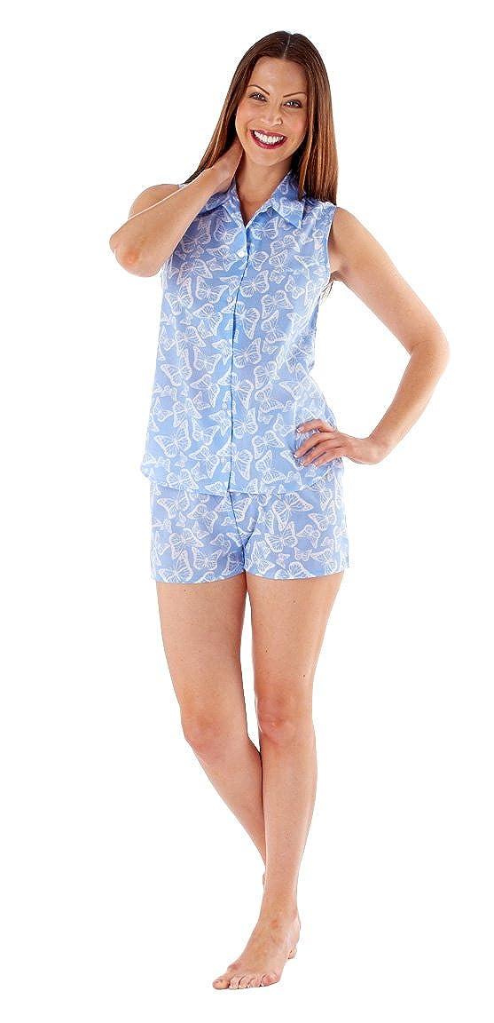 51226eb04f54 Selena Secrets Women s Butterfly Summer Button Top   Trouser Short Pyjama  Set  Amazon.co.uk  Clothing