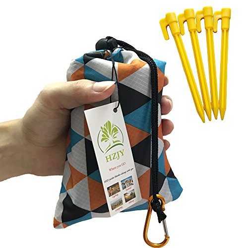 Outdoor Picnic Blanket (71 x 55) -Compact, Lightweight, Waterproof, Sand Proof Pocket Blanket Best for the Beach, Hiking, Travel, Camping, with Pockets, Loops, Stakes, Carabiner