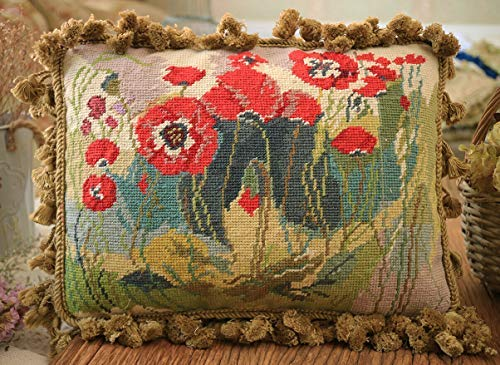 """Fine Home Crafts 16"""" Beautiful Corn Poppy Field Hand Knotted Needlepoint Pillow Cushion Cover"""