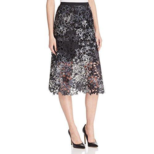 A-line Tahari Skirt (Elie Tahari Womens Tayla Printed Lace Overlay A-Line Skirt Black 8)
