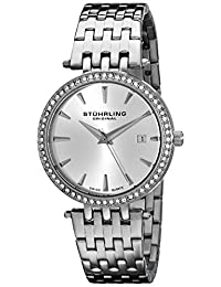 Stuhrling Original Women's 579.01 Vogue Soiree Tiara Swiss Quartz Swarovski Crystal Date Stainless Steel Bracelet Watch