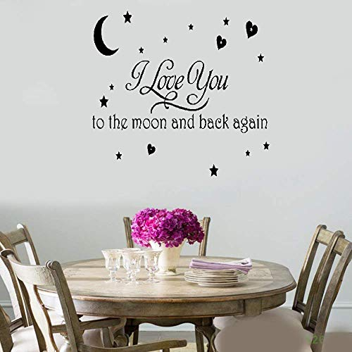 DIY Removable Vinyl Decal Mural Letter Wall Sticker I Love You to The Moon and Back for Nursery Kids -