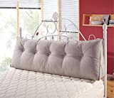 MisDress Cotton Linen Filled Triangular Wedge Cushion Bed Backrest Positioning Support Pillow Reading Pillow Home Office Lumbar Pad with Detachable Cover,Grey,59''x19.5''x7.8''