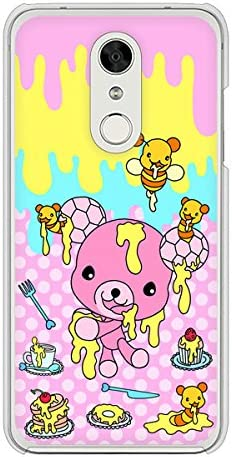 ディズニー モバイル DM-01K クリア ケース カバー AG822 ハニベア(水玉ピンク) 素材クリア【ノーブランド品】