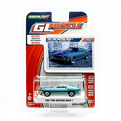 1969 FORD MUSTANG MACH 1 (Gulfstream Aqua) * GL Muscle Series 15 * Greenlight Collectibles 2016 Limited Edition 1:64 Scale Die-Cast Vehicle & Collector Trading Card (Ford 1 Mustang Mach)