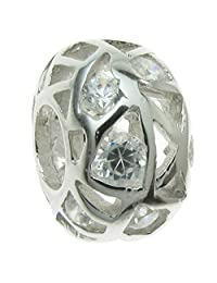 Sterling Silver Cubic Zirconia Simulated Birthstone European-style Bead Charm
