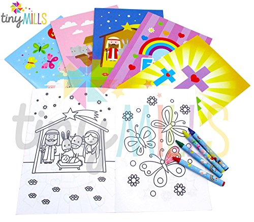 Party Crayon Set Favor (Religious Coloring Books with Crayons Party Favors Set of 12)