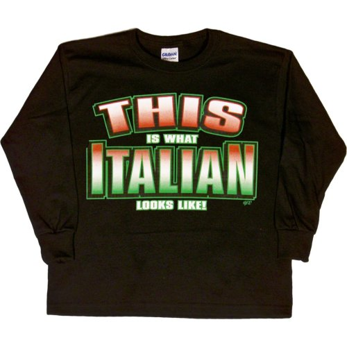 YOUTH L/S T-SHIRT : BLACK - L - This is What Italian Looks Like - Ethnic -