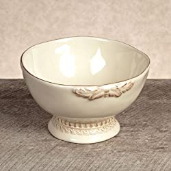 GG Collection Cream Ceramic Grazia Serving Bowl