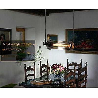 Minimalist 1-light Industrial Edison Wrought Iron Hanging Light Black Loft Long Cage Country Rustic Pendant Light