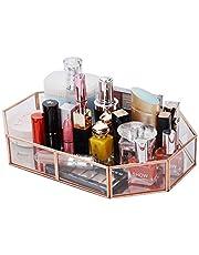 Decorative Makeup Vanity Trays, Crystal Mirrored Cosmetic Jewelry Toiletries Trinket Home Decor Tray Handmade Glass Ornate Perfume Tray for Dresser Bedroom Bathroom Restaurant Hotel (Polygon)