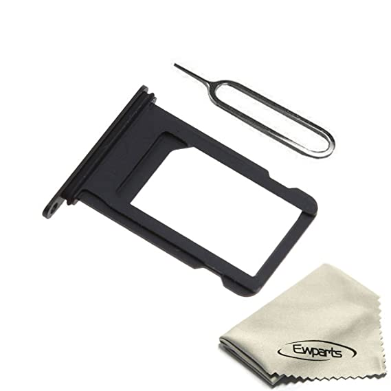 big sale e04c5 8160f Ewparts Sim Card Tray Slot Replacement for iPhone 7 4.7 Inch + SIM Card  Tray Open Eject Pin (Black)