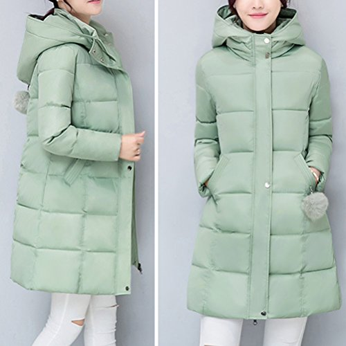 Zhhlaixing Abrigo de moda Cotton Korean Style of the long Jacket Thick Cute Hairball The best for Women Winter Green