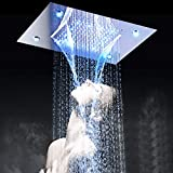 LED Luxury Large Square Waterfall Rain Shower System Contemporary Waterfall Shower Head Combo Hot and Cold Shower Mixer Chrome Finish