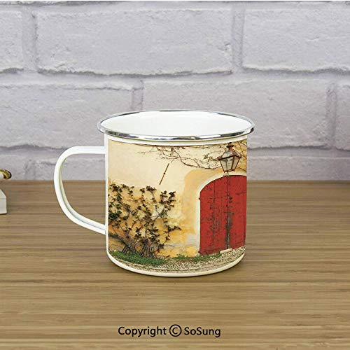 (Shutters Enamel Coffee Mug,Doorway with Blinded Door and Window to the Rural Tuscan House Italy Europe,11 oz Practical Cup for Kitchen, Campfire, Home, TravelBeige Yellow Red)