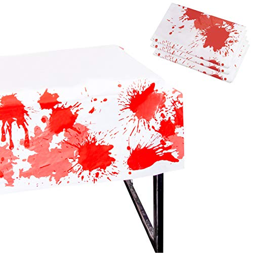 Juvale Halloween Party Tablecloth - 3-Pack Disposable Plastic Rectangular Table Covers - Halloween Party Decoration Supplies Haunted House, Blood Splatter Design, 54 x 108 Inches ()