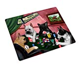 Home of French Bulldogs 4 Dogs Playing Poker Large Tempered Cutting Board 15.74'' x 11.8'' x 5/32''