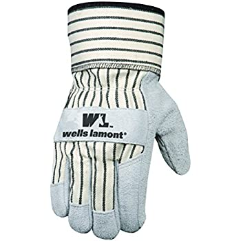 Wells Lamont Leather Work Gloves with Safety Cuff, Suede Palm, Large (4000L)
