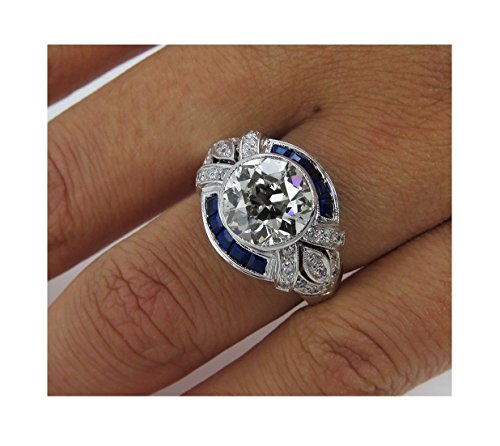 7548979e3a4a0 Vera Wang Vintage 1.94ct Round Nscd Simulated Diamond Blue Sapphire  Baguette 925 Sterling Silver Engagement