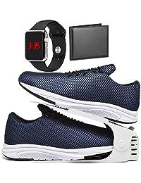 Kit Tênis Esportivo Caminhada Com Organizador, Carteira e Relógio LED Silver Masculino DUBUY 1108DB