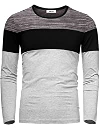 Men's Basic Color Block Round Neck Long Sleeve Knitted T-Shirt Top