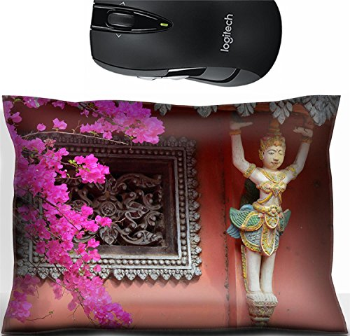 Liili Mouse Wrist Rest Office Decor Wrist Supporter Pillow IMAGE ID: 39449731 Carved in stone demons gods and spirits decoration of Khmer temple in Mekong Delta southern Vietnam (Khmer Keyboard)