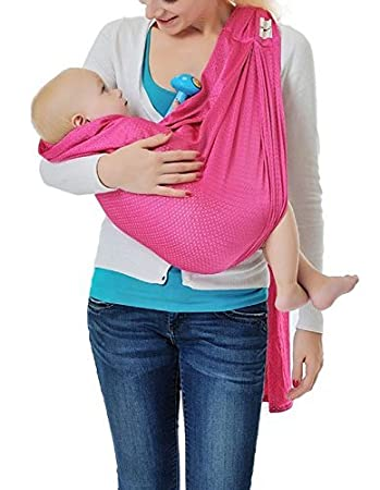 Cuby Breathable Baby Carrier Mesh Fabric Ideal For Summers//Beachhe Adjustable Ring Sling Baby Carrier Pink Ergo Friendly