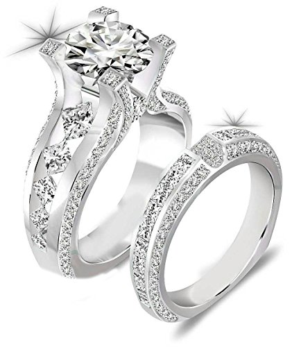 Newshe Jewellery 3ct Round Cz 925 Sterling Silver Wedding Band Engagement Ring Sets Size 8 by Newshe Jewellery