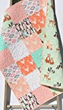 Baby Girl Quilt Woodland Animals Aztec Deer Bucks Bear Feathers Tribal Pastel Shabby Chic Crib Bedding Nursery Coral Pink Mint Green Gold