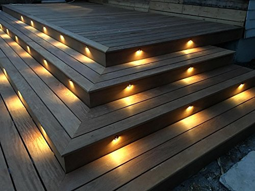 FVTLED Pack of 20 Warm White Low Voltage LED Deck lights kit Φ1.38'' Outdoor Garden Yard Decoration Lamp Recessed Landscape Pathway Step Stair Warm White LED Lighting, Black by FVTLED (Image #2)