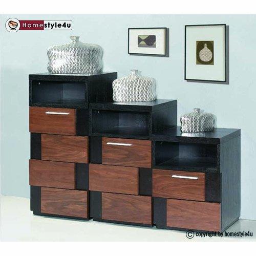 Kommode schwarz holz  Homestyle4u Schrankset 3er Kommode Flur Sideboard Möbel Holz ...