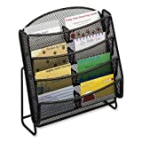 Wholesale CASE of 10 - Safco Steel Mesh 8-Compartment Bus. Card Holder-Business Card Holder,Mesh,8-Pockets,8-3/4''x3''x8-3/4'',Black
