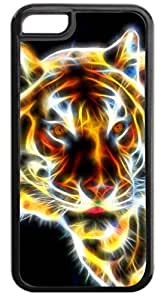 Cool Fractal Tiger- Hard Black Plastic with Tough Soft Inner Rubber Lining Case- for the Apple iPhone 5c ONLY (not the standard iPhone 5, 5s)