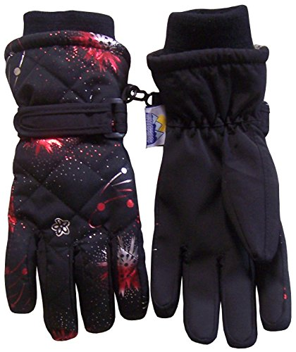 Lined Quilted Gloves (N'Ice Caps Women's Quilted Fireworks Design Thinsulate and Waterproof Ski Gloves (Teens/13-15yrs, Black/Bright Silver/Bright Red/Bright)