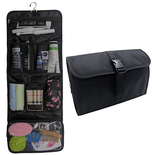 Price comparison product image Hanging Toiletry Bag Travel Kit for Men and Women Waterproof Wash Bag Compact Makeup Organizer Bag Shaving Kit for Bathroom, Travel Accessories, Cosmetics, Shampoo, Body Wash (Black)