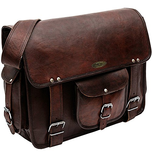 Handmade_World Rugged Vintage Laptop Messenger Bag for Men - Men's Leather Messenger Bag - Genuine Handcrafted Leather Messenger Satchel Shoulder Cross-body Bag for 15 Inch Laptop Macbook Computer