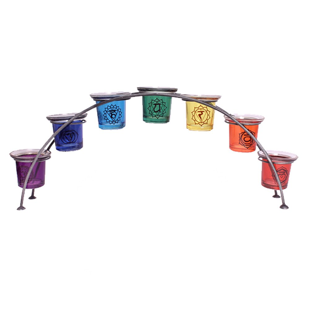 Large 46cm glass reiki chakra rainbow arch tealight votive candle holder gift 7 holders Phoimp