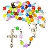 Catholic rainbow round multi-coloured rosary beads long by R. Heaven