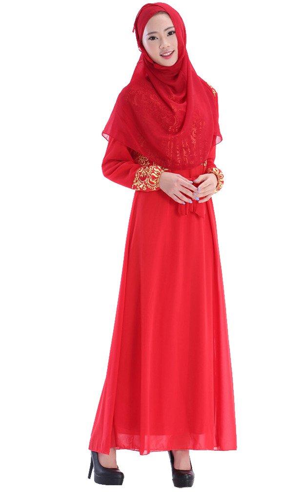 GladThink Chiffon Kaftan Maxi Kleid der Frauen mit Golddruck HimmelBlau L:  Amazon.de: Bekleidung