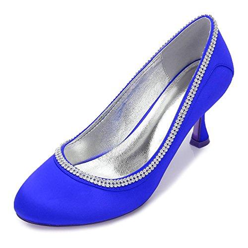 40 Toe Correa De L Corte Raso Rhinestone Cerraron Tacón yc Zapatos 17061 P Blue Novia Tobillo Nupcial Alto Mujeres qtpx8gC
