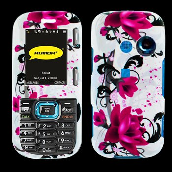 Premium - LG Rumor2/ LX265/ VN250/ Cosmos Red Flower on White Cover - Faceplate - Case - Snap On - Perfect Fit Guaranteed