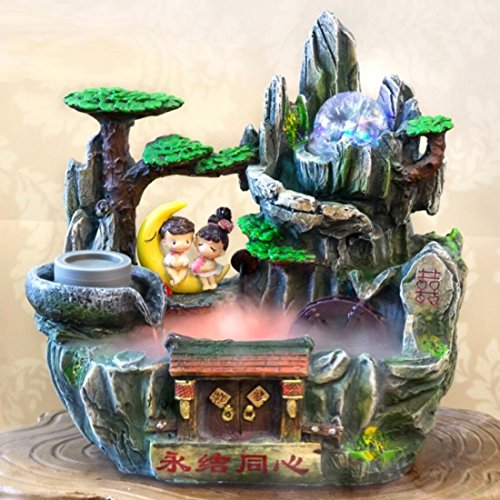 GL&G Chinese style Wedding Gifts Creative High-end Resin art Crafts rockery Water Tabletop Scenes Indoor Tabletop Fountains Ornaments Humidifier Parts,362336cm by GAOLIGUO