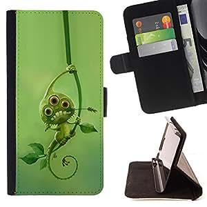 BullDog Case - FOR/Apple Iphone 4 / 4S / - / green cute alien monster leaves mutant /- Monedero de cuero de la PU Llevar cubierta de la caja con el ID Credit Card Slots Flip funda de cuer