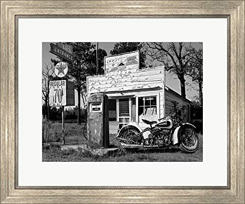 Abandoned Gas Station, New Mexico by Gasoline Images Framed Art Print Wall Picture, Silver Scoop Frame, 24 x 20 inches