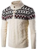 Product review for jeansian Men's Retro Jacquard Button Down Sweater Knitted Cardigan 88G4